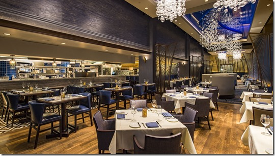 With hues that conjure up the deep blue sea, the re-imagined Flying Fish restaurant beckons guests to Disney's BoardWalk with a contemporary, sophisticated interior that pays homage to the golden era of seaside boardwalk dining. Flying Fish is a signature restaurant at Walt Disney World Resort and is open for dinner daily. (Matt Stroshane, photographer)